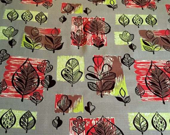 """MCM Fabric/ Eames Era Chic Leaves with Attitude for Curtains, Home Decor, Apparel 42""""x 3 Yards"""
