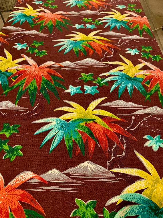 Spectacular Vintage 40s Hawaiian Barkcloth Fabric/  Banana Leaves and Mountains/ Cotton Yardage for Upholstery and Home Decor/ 5 Panels