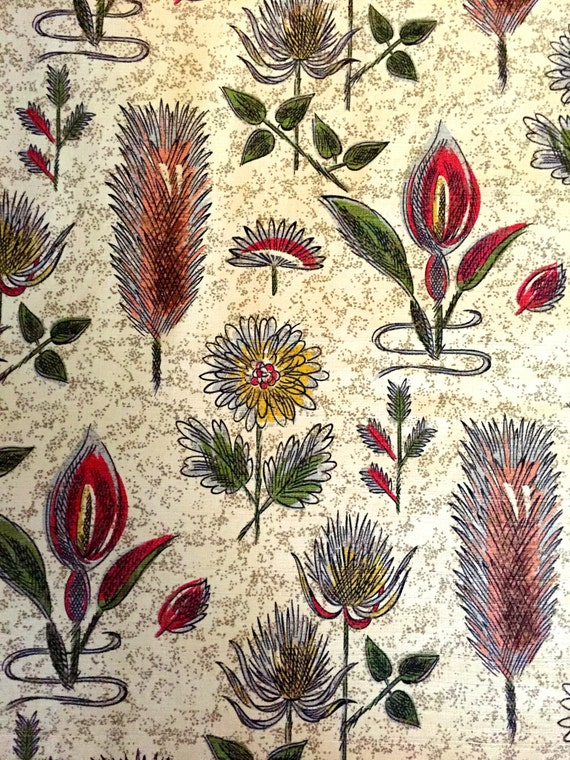 MCM Barkcloth Featuring A Botanical Study of Flowers// Eames Era Cotton Remnants for Upholstery and Home Decor