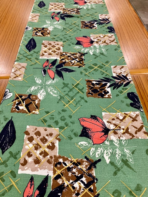 Wild Stylized Atomic 50s Leaf Motif Barkcloth Fabric/ Eames Era Chic Cotton Yardage for Upholstery and Home Decor/  8 Yards available
