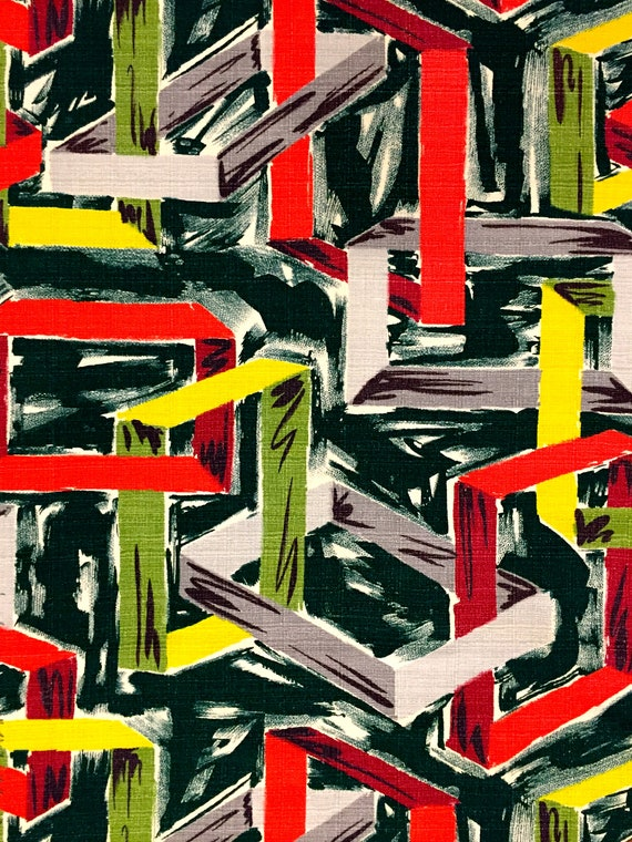 "Crazy 50s Eames Era Barkcloth// Mid Century Mod Geometric Fabric//CottonYardage// Upholstery// Drapery//Home Decor// 48"" x 60"""
