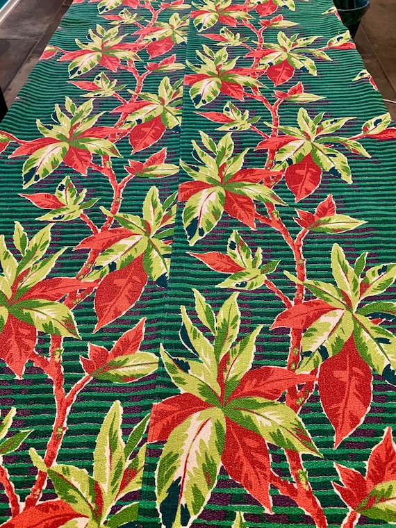 "Stunning 40s Miami South Beach Barkcloth Fabric Bedspread/ 69""W x 92""L"