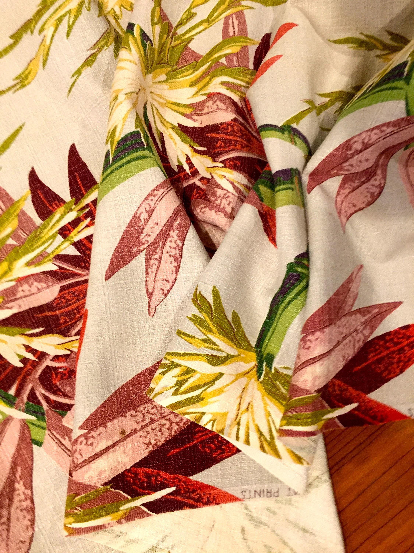Stunning Vintage 40s Tropical Barkcloth Fabric// Hollywood ...