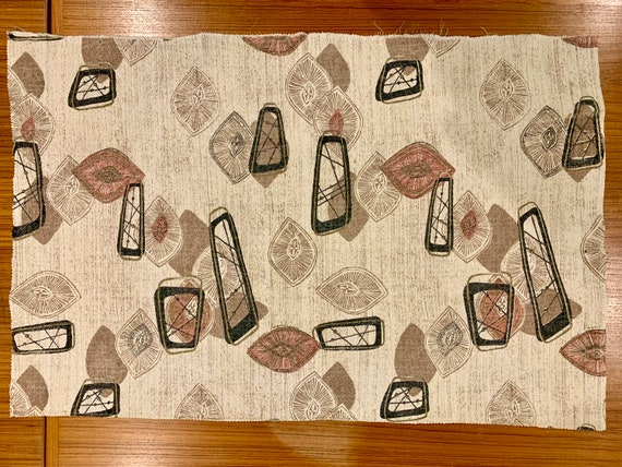 50s Mid Century Madness Fab Abstract Barkcloth// Eames Era Fabric/Pillow Size Remnant for Home Decor