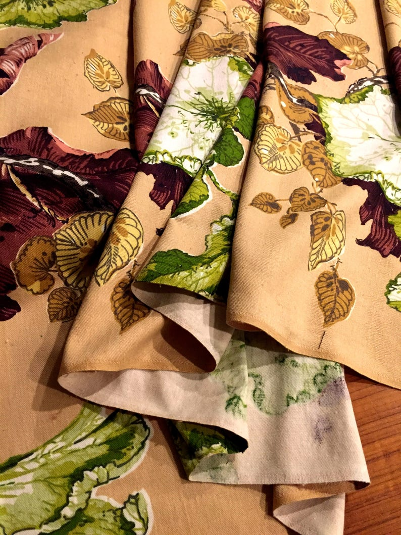Fabulous Foliage 40s Floral Barkcloth Fabric For Upholstery And Home Decor Bty 3 Yards