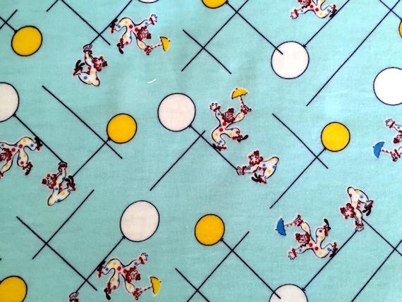 Cute 50s VTG Flannel Pajama Fabric/ Kids Clown Design/ Cotton Yardage/ Children's Apparel/ Home Decor