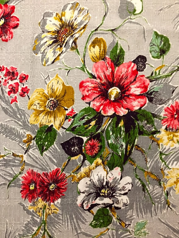 """Dazzling Daisies Mid Century Barkcloth// Vintage Floral Fabric// Cotton Yardage//Upholstery Weight// Home Decor// New Old Stock//44"""" x 92"""""""