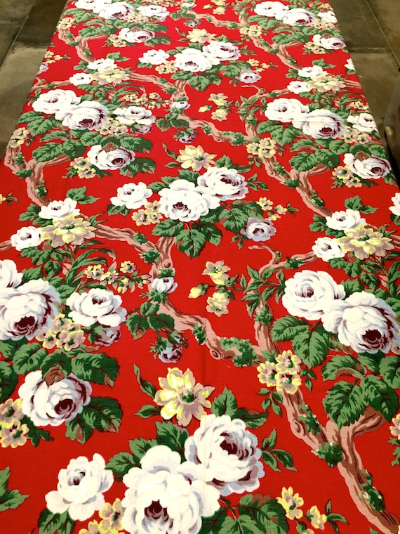"""Summer Floral Barkcloth with an Old Hollywood Vibe/ Vintage 40s Fabric/ Cotton Yardage// Upholstery/ Drapery/ 46"""" x 70"""""""