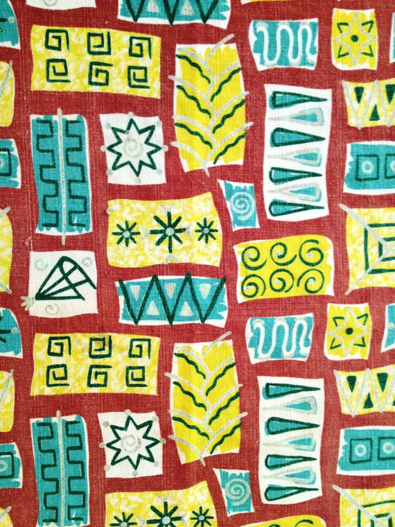 Groovy 50s Eames Era Barkcloth Fabric// Mid Century Modern Cotton Yardage for Upholstery and Home Decor