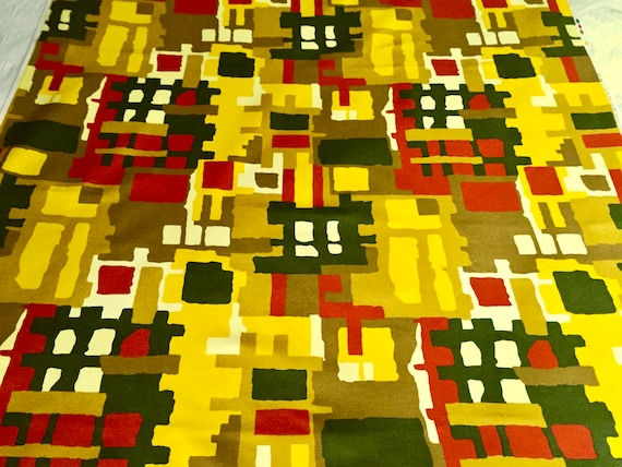 70s Abstract Brutalist Design Broadcloth Fabric for  Upholstery and Home Decor/ BTY 5 Yards