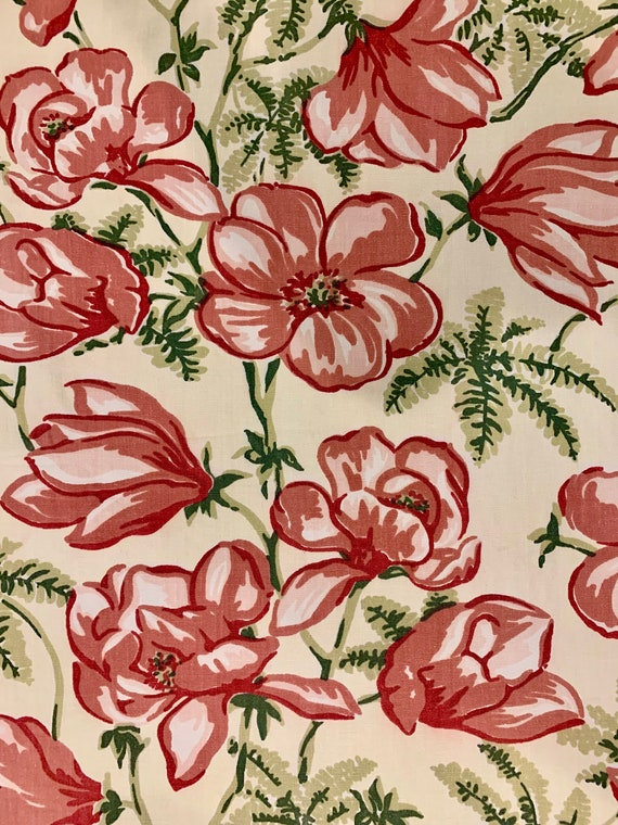 Spectacular 60s Hand Printed Floral Barkcloth/ Hawaiian Fabric for Upholstery Drapery and Home Decor/ BTY 11 Yards