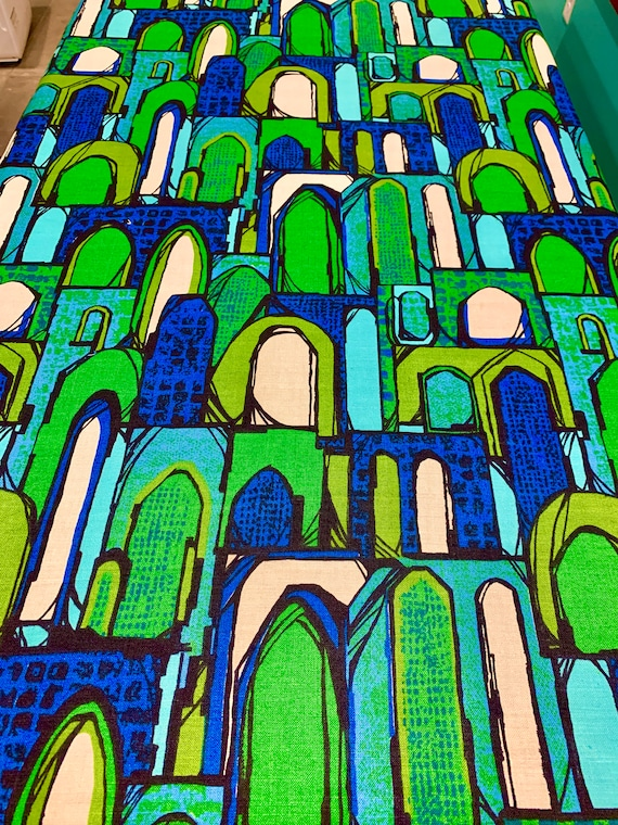 Fab 70s Abstract City Scape Barkcloth Fabric/ 100% Linen Screen Print Yardage for Upholstery and Home Decor/ BTY 15 Yards Available