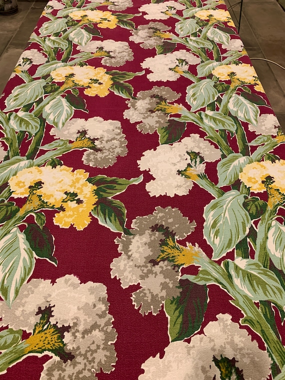 Stunning Vintage 1930s Floral Barkcloth Fabric/ Hollywood Glam Tropical Design for Upholstery and Home Decor/ Almost 2 Yards