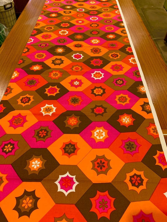 Groovy 70s Geometric Design MCM Fabric with a Bold 3D Op Art Vibe for Upholstery and Home Decor/ 3 Yards Available