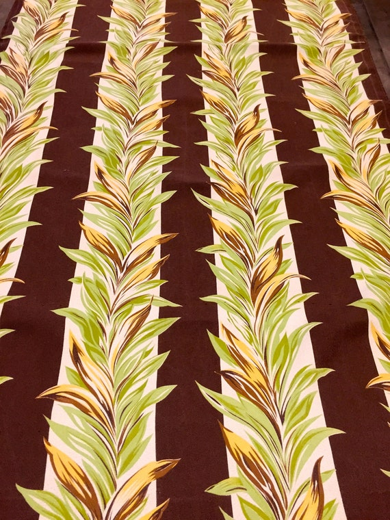"""Magnificent Miami Beach Art Deco 30s Barkcloth Fabric/ Cotton Yardage for Upholstery and Home Decor/ 36"""" x 102"""""""