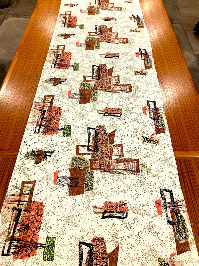 Groovy MCM Barkcloth Fabric with an Eames Era Abstract Design for Home Decor and Apparel 4 Panels 42 x 91