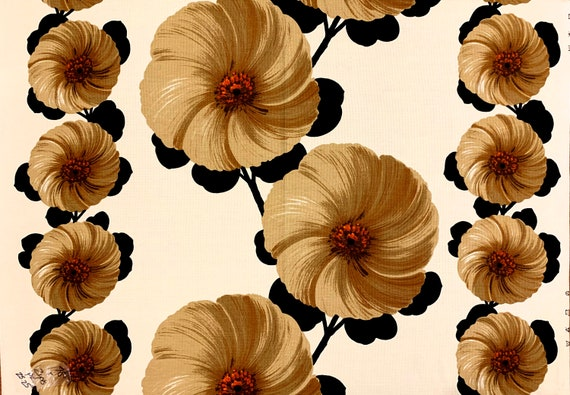 Groovy 70s Scandinavian Floral Design Barkcloth Fabric/ Cotton Yardage for Upholstery and Home Decor/ 3 Panels