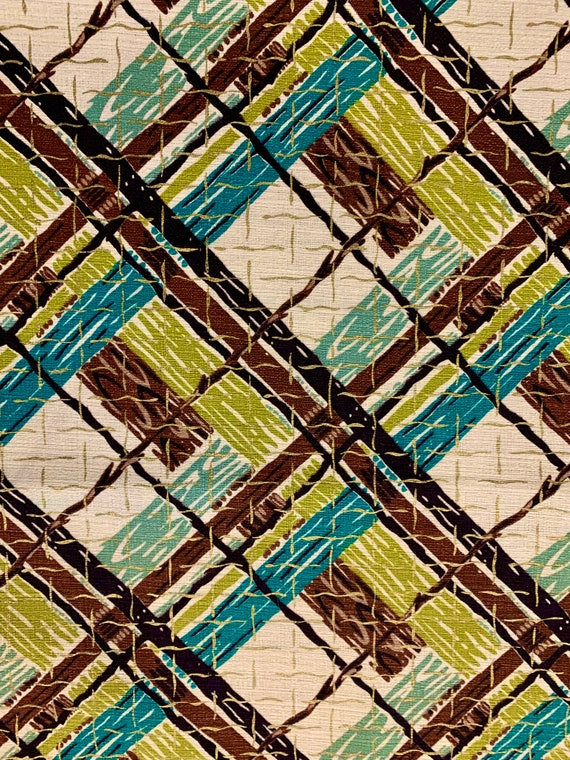 """Cool 50s Atomic Plaid Barkcloth Fabric with Attitude/ Cotton Yardage for Upholstery and Home Decor/ 35"""" x 60"""""""