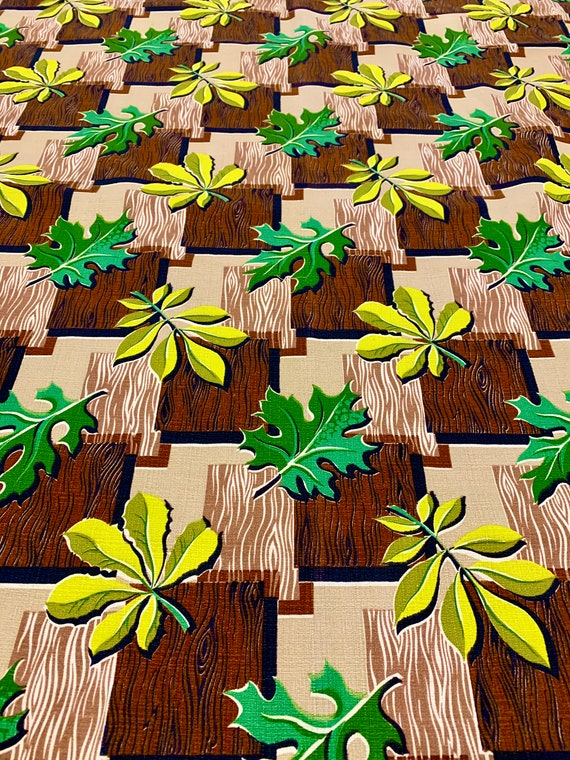 Wild Stylized Leaf Motif Mid Century Barkcloth Fabric/ Cotton Yardage for Upholstery and Home Decor/ BTY 3 Yards Available