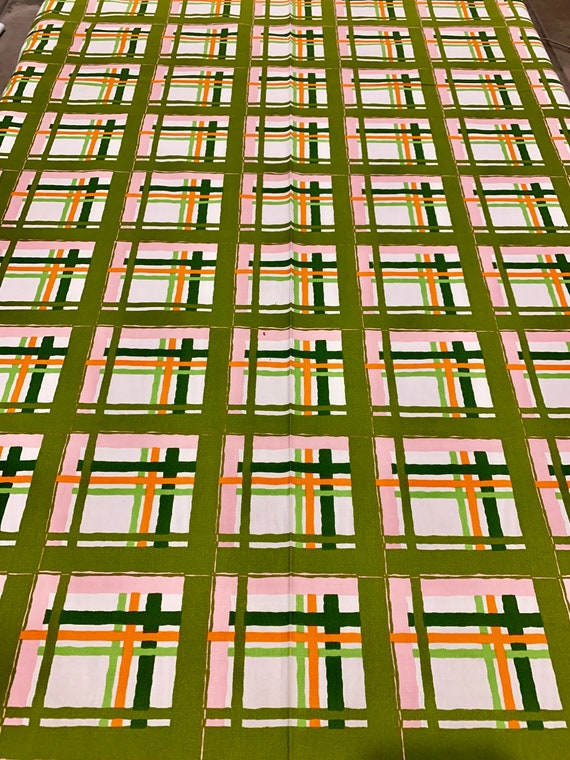 50s MCM Lattice Plaid Broadcloth Fabric in Pink Orange and Green/ Cotton Yardage for Upholstery and Home Decor/ BTY 18 Yards Available