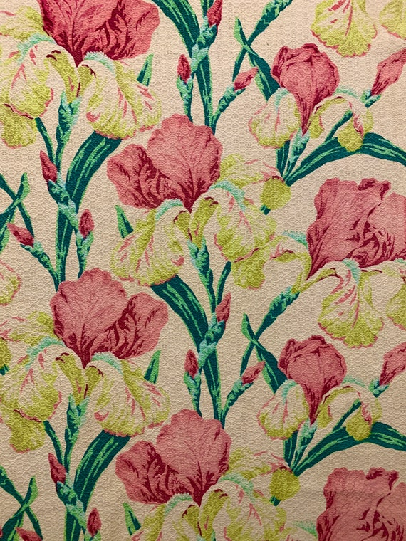 """Magnificent Pink Irises 1930s Barkcloth Fabric/ Cotton Yardage for Upholstery and Home Decor/ 34""""W x 83""""L"""