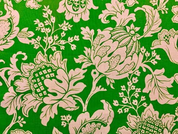 Vintage 70s Jacobean Design Toile Fabric by Cohama Textiles/ Stylized Blooms for Upholstery and Home Decor/ 2 Lg Panels Available
