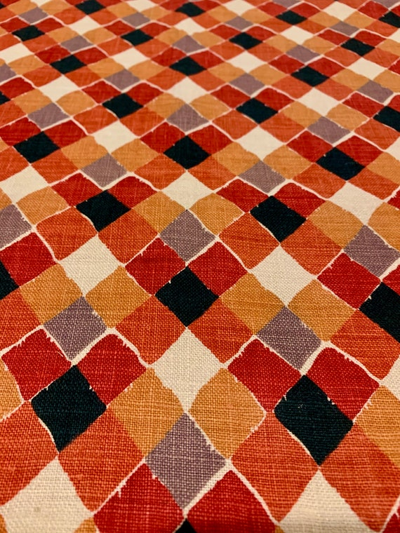 Fab Vintage MCM Linen Fabric with a  Geometric Harlequin Design/ Cotton Yardage or  Upholstery and  Home Decor/ 3 Yards