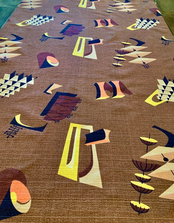 George Jetson Atomic Barkcloth Fabric/ Cotton Yardage for Upholstery and Home Decor/ 3 Panels Available