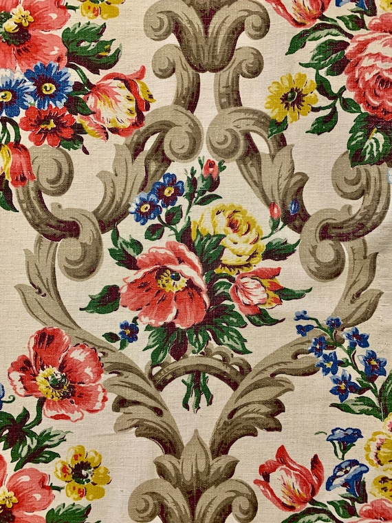 """Lovely 30s Neoclassical Floral Barkcloth Fabric/ Cotton Yardage for Upholstery and Home Decor/ 34""""W x 75""""L"""