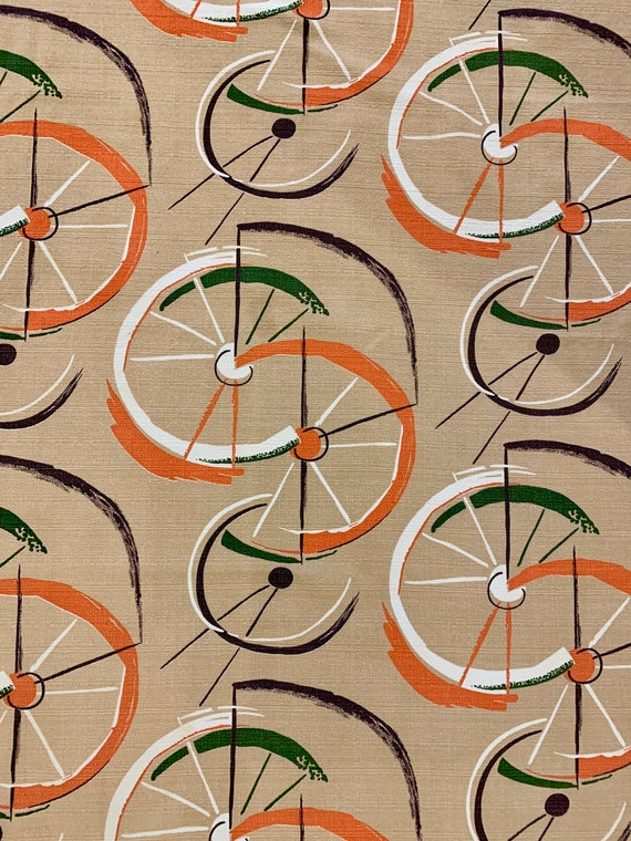 """Vintage 50s MCM Mod Bicycle Tire Bonanza Barkcloth Fabric/ Cotton Yardage for Upholstery and Home Decor/ 45"""" x 77"""" Panel"""