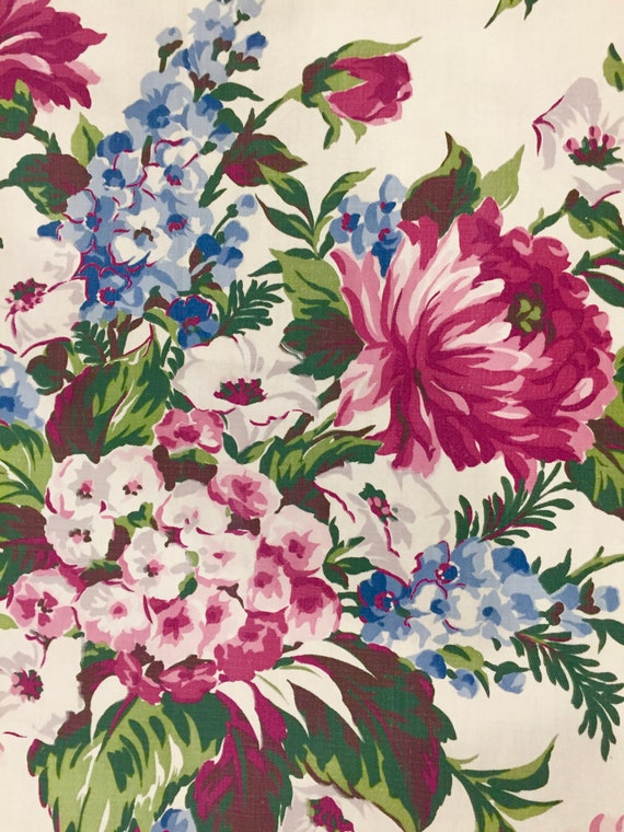 """Beautiful Blooms 1940's Barkcloth Fabric/ Shabby Chic Cotton Yardage for Upholstery and Home Decor/ 2 Panels 36""""x 80"""""""