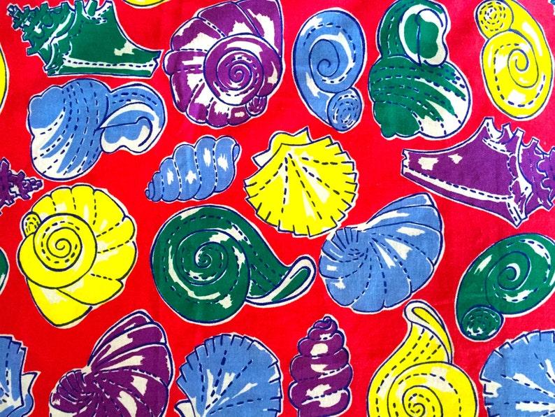 She Sells Seashells 60s MCM Fabric Beach House Design for Home Decor 44 x 78