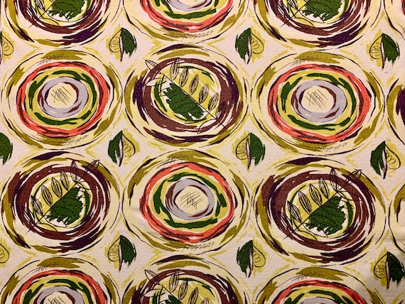 """Mid Century Modern Atomic Circles with an Organic Flair/ Eames Era Barkcloth for Upholstery and Home Decor/ 38""""W x 2 Yards"""