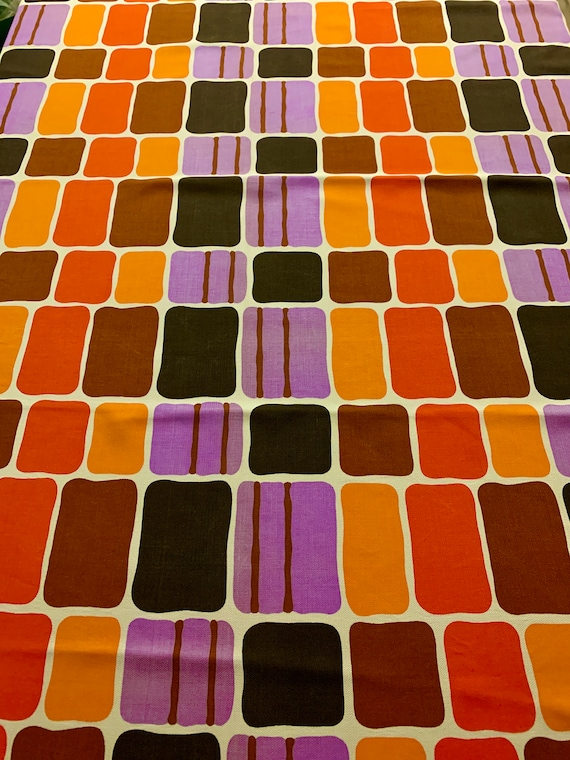 Vintage Danish Modern MCM Broadcloth Fabric/ Op Art  Rayon Yardage for Home Decor and Upholstery/ Almost 3 Yards