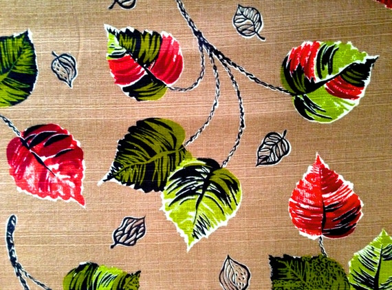 Fab 50s Falling Leaves Vintage Barkcloth Fabric// Eames Era Cotton Yardage for Upholstery and Home Decor