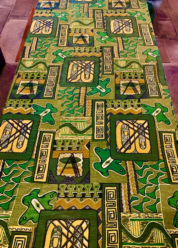 Vintage 1950s Tiki Chic Barkcloth with a Sophisticated Eames Era Vibe for Wall Art/ Upholstery/ Home Decor/ 2.25 Yards