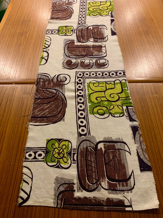 """George Jetson Meets Pablo Picasso Mid Century Mod Barkcloth/ Tiki Tribal Design with a Mayan Twist/ Pillow Size Remnant/45""""W x 13""""L"""