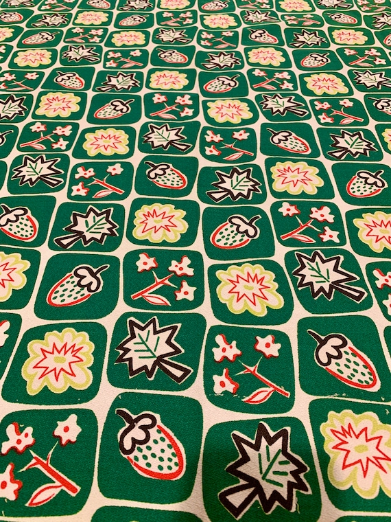 Vintage 1950s Wacky Botanical Barkcloth Fabric/ Cotton Remnants for Upholstery and Home Decor/ 2 Panels Available