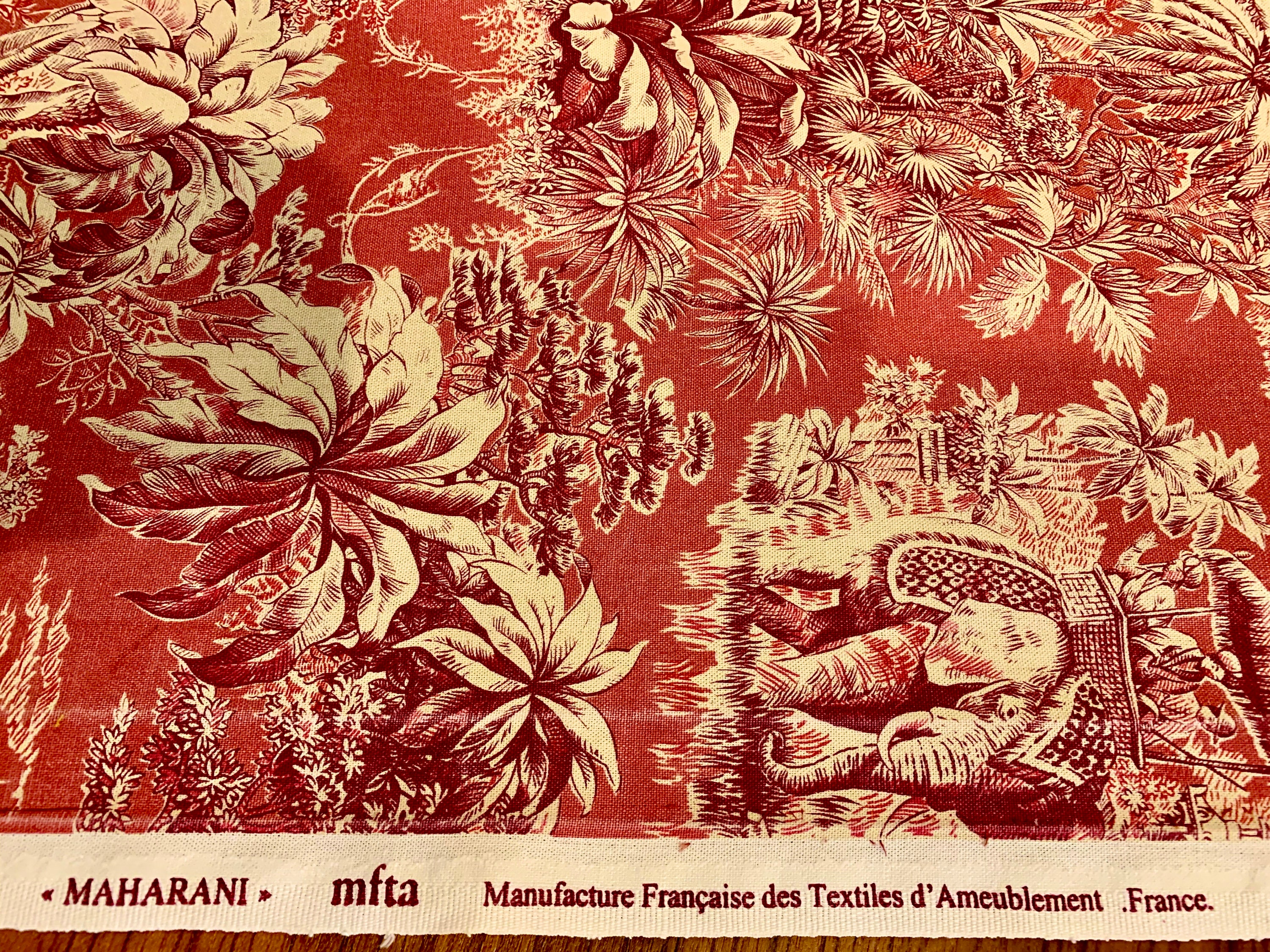 Manufacture Francaise Des Textiles D Ameublement fab french toile fabric featuring colonial india design
