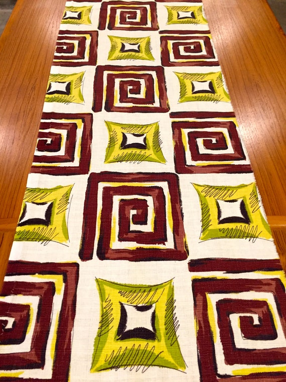"Mid Century Mod 50s Geometric Barkcloth Fabric in Yellow and Chocolate // Eames Era Chic// Cotton Yardage// Upholstery// Home Decor//18""x50"""