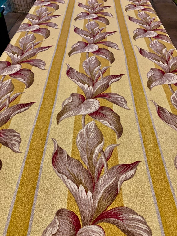 """Stunning 1930s Tropical Barkcloth with a Hollywood Glam Vibe/ Cotton Remnant for Upholstery and Home Decor/ 54""""W x 19""""L"""