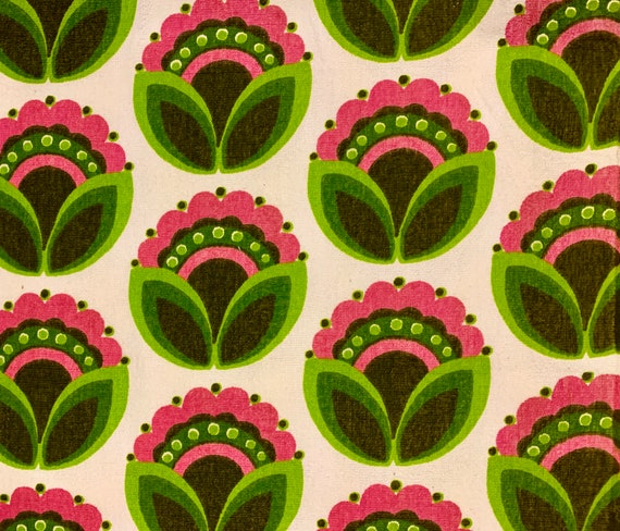 Graphic 1960s Abstract Floral Upholstery Weight Terry Cloth Fabric/ Cotton Yardage for Home Decor/ BTY 9 Yards Available