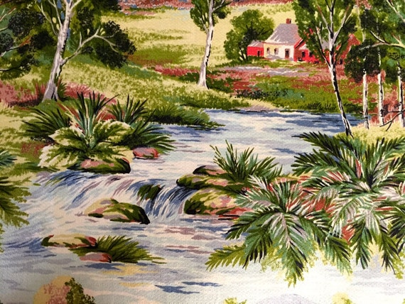 VTG 30s Stunning Country Landscape Barkcloth/ Farmsted/ River Views/ Cotton Yardage for Upholstery and Home Decor