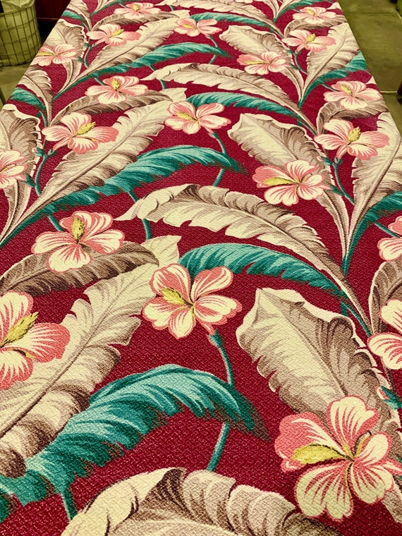 """Dazzling Vintage 30s Pink Hibiscus and Feathers Barkcloth Fabric/Cotton Yardage for Upholstery and Home Decor/ 40""""W x 77""""L"""