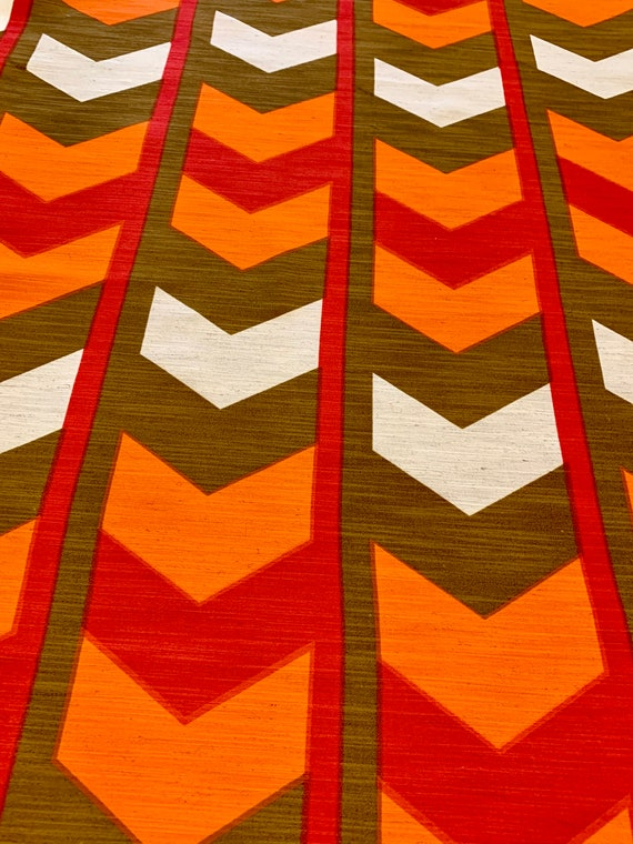 """Striking 70s Chevron Design Barkcloth Fabric for Upholstery and Home Decor/ 48""""W x96""""L"""