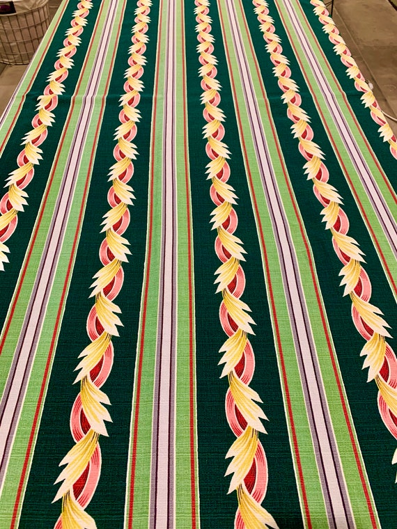 """Marvelous 50s Mid Century Barkcloth Fabric/ Abstract Acanthus Leaf Design/ Cotton Yardage for Upholstery and Home Decor 47"""" x 84"""""""