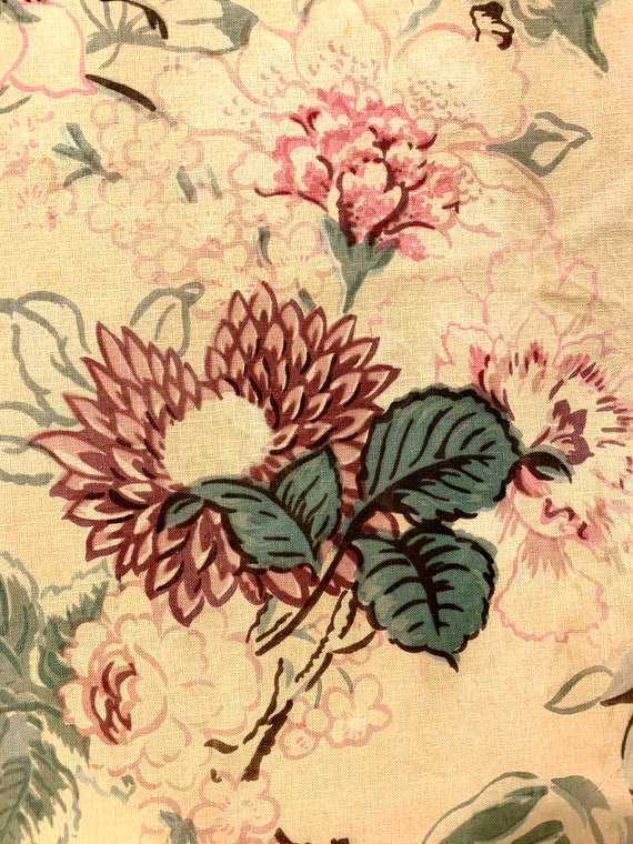 """Exceptional 1940s  Floral Barkcloth Fabric with a Graphic Picasso-esque Vibe for Upholstery and Home Decor 43"""" x 88"""""""