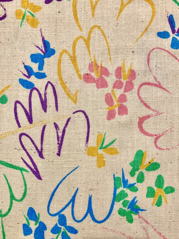 Adorable 1960s Broadcloth Fabric/ Blooms and Squiggles Linen Yardage for Apparel and Home Decor/ 2 Panels Available