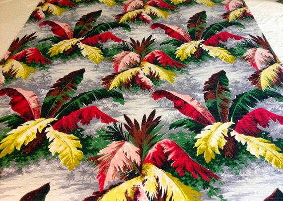 """Fab Tropical Floral Foliage Mid Century Barkcloth// Hawaiian Fabric for Upholstery and Home Decor/ 47""""W x 81""""L"""