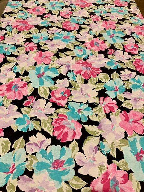 Whimsical Vintage 70s Flower Power Floral Hippie Fabric/ Cotton Yardage for Apparel or Home Decor/ BTY 5 Yds Available
